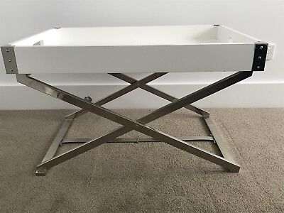 West Elm Large Rectangle White Laquer Tray & Glossy Nickel Butler Tray Stand