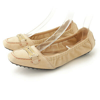 30ed995759c7 Authentic Tod s Suede Ballet Shoes Flat Pumps Beige Grade Ab Used - At