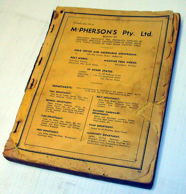 VINTAGE INDUSTRIAL McPHERSON'S CATALOGUE 1937 ISSUE. NO COVER BUT PICS OK.