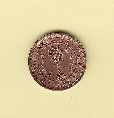 Ceylon  1/4 Cent  1890  KM 90  UNC  rare in this condition