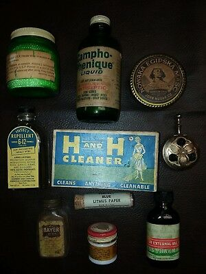 Lot of 10 Antique Tins/ Containers/ Bottles./ Misc