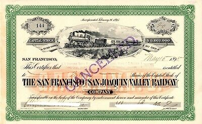 San Francisco & Joaquin Valley Railway 1895  Stock Certificate - cut out cancel