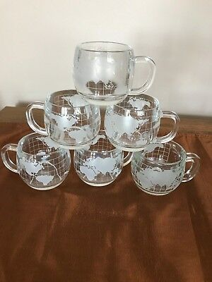 6 Vintage NESTLE NESCAFE World Globe Frosted Glass Coffee Cup Mugs
