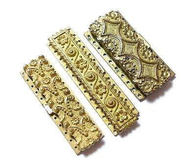 Collection Of Three Antique Georgian Ornate Pinchbeck Jewellery Clasps Af (C7)