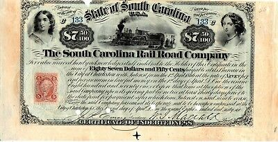 South Carolina Rail Road (State of SC) 1866 $87.50 Bond Certificate of Debt -cut