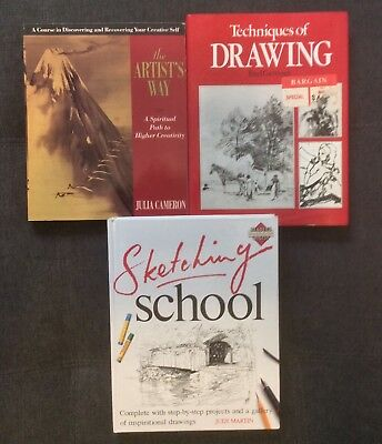 Art Instructional Books Lot of 3 Sketching School Techniques Drawing Artists Way