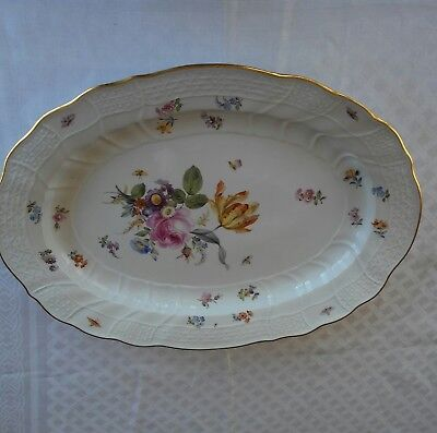 Exceptional Antique 19th Century Meissen Large Oval Platter Insects Flowers