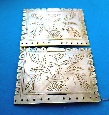 Antique  Georgean Pearl Sewing Needle Book Covers,engraved Floral Basket.