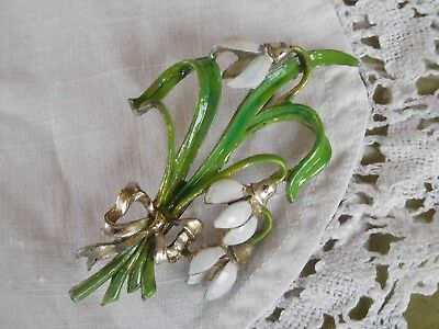 Large Vintage 1950s Birthday Series Enamel Snowdrops Brooch signed Exquisite