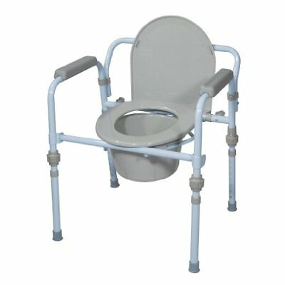 Drive Medical Folding Bedside Commode Seat with Bucket and Splash Guard Powder
