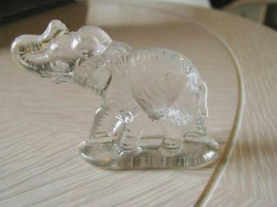 """2"""" Tall Clear Glass MIniature Elephant Marked C and 2?"""