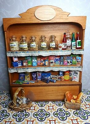 dolls house wall unit  living dining room shop grocerys mixed lot assessories