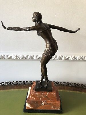 Beautiful Art Deco Style Bronze Dancing Girl Figure Marble Base Signed Flapper