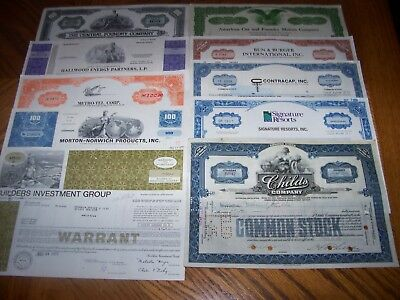 Lot of 10 Different Stock Certificate.A9