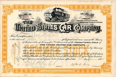 The United States Car Company of New Jersey 1894 Stock Certificate - orange