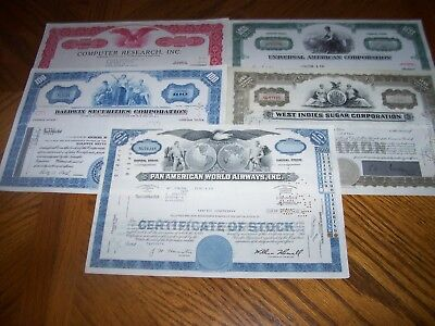 Lot of 5 Different Stock Certificates.Nice Vignettes.A1