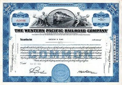 Two (2) Different Western Pacific Railroad Company 1950's Stock Certificates