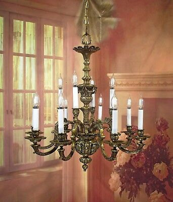 Antique Vintage Bronze Chandelier Dore Ornate 12 Light French Grand Fixture WOW!