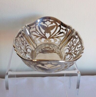 Vintage London Hallmarked Sterling Solid Silver Butterfly Bowl Richard Comyns