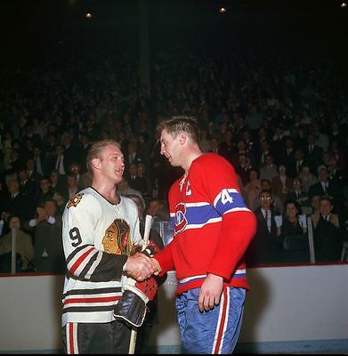 Jean Beliveau Montreal Canadiens , Bobby Hull Chicago Blackhawks  8x10 Photo