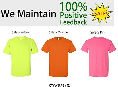 Gildan ANSI Safety Green Orange Pink T-Shirt 5000 S-5XL HIVIS QTY 3/ 6/ 12