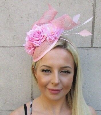 Baby Light Pink Sinamay Rose Flower Feather Hat Fascinator Races Hair Ascot 5840