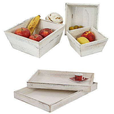 Holzschalen Set, 2x Serviertablett T285, Shabby-Look, weiß, 3x Obstschale T284