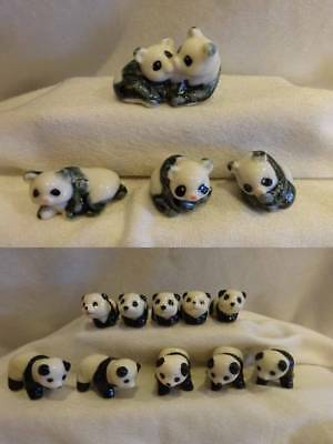 Porcelain Mini Animals ALL PANDA BEARS Made in China 2 Styles Lot of 14
