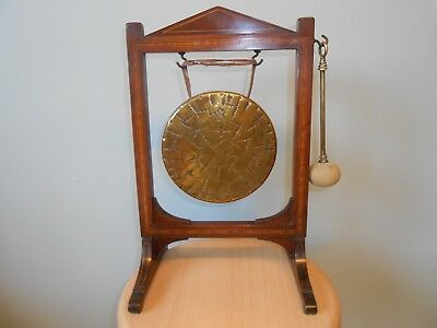 ANTIQUE EDWARDIAN BURMESE BRASS TABLE GONG & INLAID MAHOGANY STAND c1905