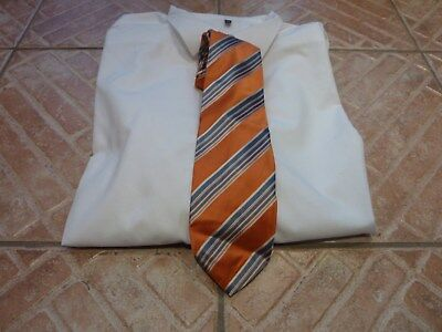 Schlips Krawatte Tie Binder Altea Milano gestreift orange 100% Seide
