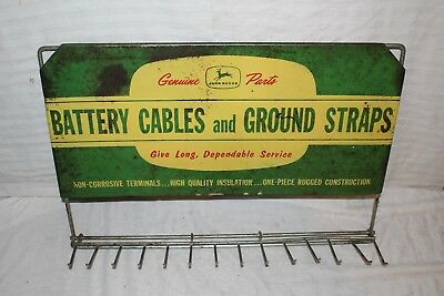 """Rare Vintage 1950's John Deere Farm Tractor Battery Cable Gas Oil 22"""" Metal Sign"""