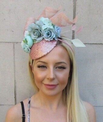 Mint Green Rose Gold Flower Feather Hat Hair Fascinator Races Ascot Floral  5844 7a6df558d09