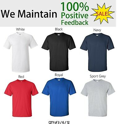 Gildan Adult Heavy Cotton T-Shirt Plain 100% Cotton 5000 S-5XL QTY 3/ 6/ 12