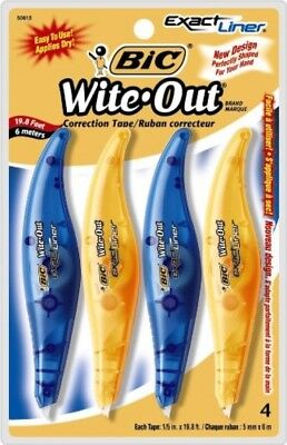 BIC Wite-Out Brand Exact Liner Correction Tape, White, 4-Count