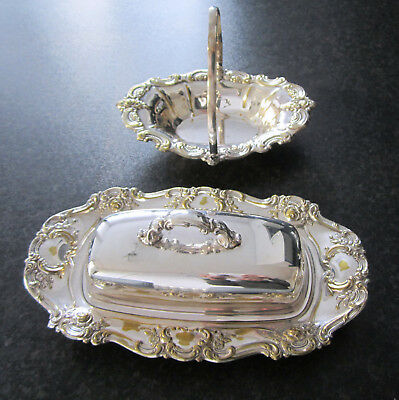 Superb Silver Plated Rococo Yeoman Butter Dish Tray Lid & Liner + Bon Bon Dish