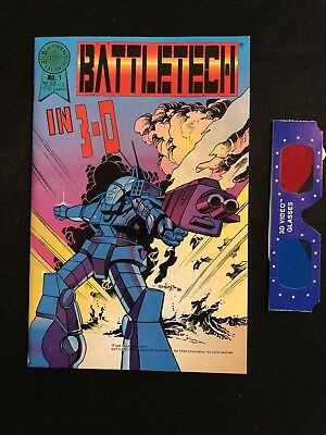 RARE Battletech in 3-D No. 1 Blackthorne 1988 WITH 3-D Glasses