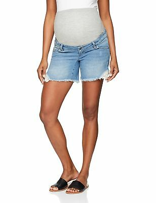 Mamalicious Women's Mlcasis Crochet Denim B. Maternity Shorts