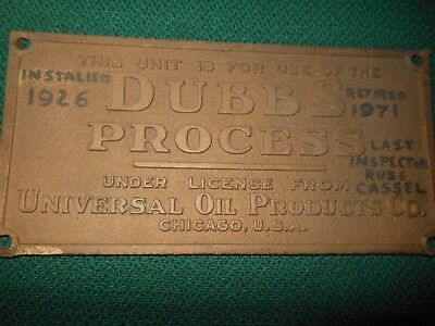 Dubbs Process Universal Oil Products Co Chicago Bronze Plaque Installed 1926