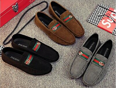 Mens Slip On Designer Loafers Driving Shoes Casual Moccasin Fashion Size