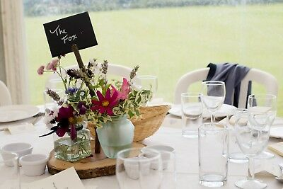 wedding centre piece , table name, place setting. 10 wooden centre pieces