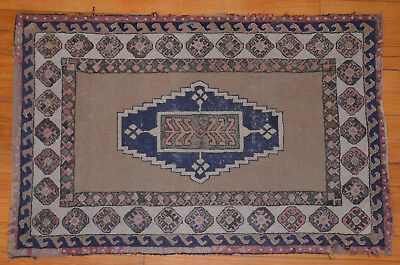 Antique Vintage Persian Style Handmade Hooked Rug 35x23 OLD NEW ENGLAND ESTATE