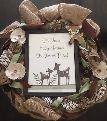 "Burlap Door Wreath Baby Shower Gift ""Oh Deer, Baby Is Almost Here"" *as Is*"