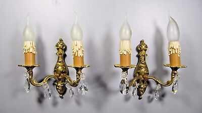 Antique Rococo Sconce French Pair Brass Bronze Crystal Louis XV Wall Light Lamp