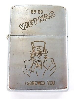 Zippo Cigarette Lighter, Vietnam War 68-69, Uncle Sam & The Roadrunner !!