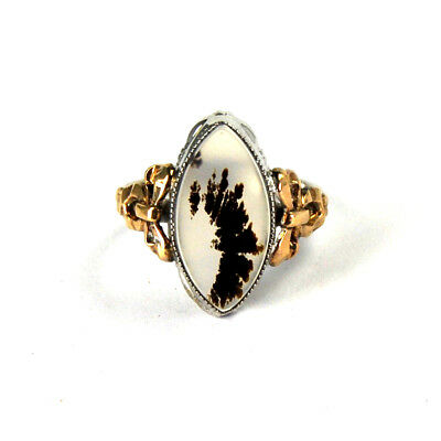 Antique Art Deco Picture Agate Ring Dendritic Moss 10k Gold Silver Ribbon 5.5
