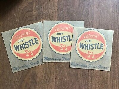3 Alike Vintage 1950's Whistle Soda Advertising Decals Old Paper Ephemera