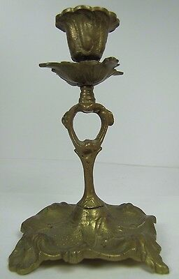 Old Brass BACKSTIGS FABRIKS A-B KULLTORP 25yr Art Nouv Advertising Candlestick