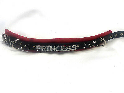 Personalized Leather N Spikes collar Choose suede color and word/name