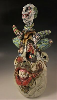 'Jokers Wild with Worms' A Surreal Southern Folk Art Face Jug by Ron Dahline