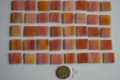 40 Stained Glass mosaic square tiles - 2x2 - Swirly pink and yellow - 125g